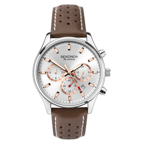Sekonda Gents Brown Leather Strap Watch 1784