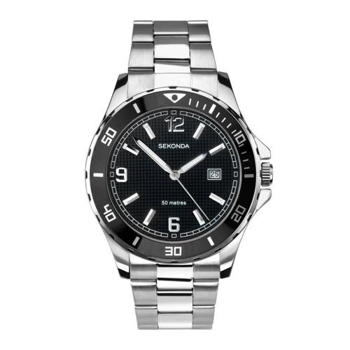 Sekonda Mens Black Face Stainless Steel Watch 1513