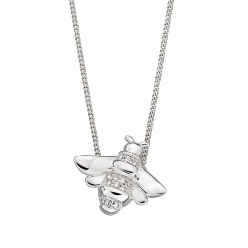 Sterling Silver Cubic Zirconia Detailed Honey Bee Pendant
