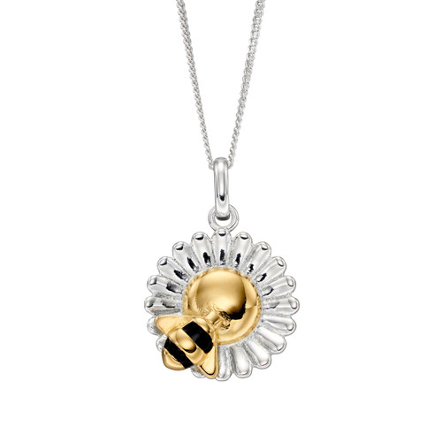 Sterling Silver Flower and Bee Pendant with Chain