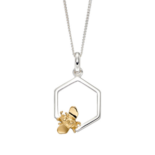 Sterling Silver Honeycomb and Bee Drop Pendant