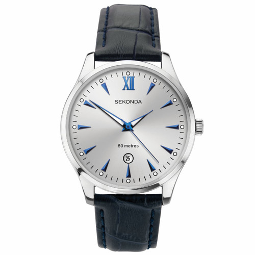 Sekonda Gents Blue Leather Strap Watch 1781