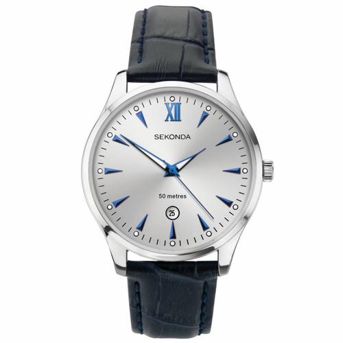 Sekonda Gents Blue Leather Strap Watch 1781