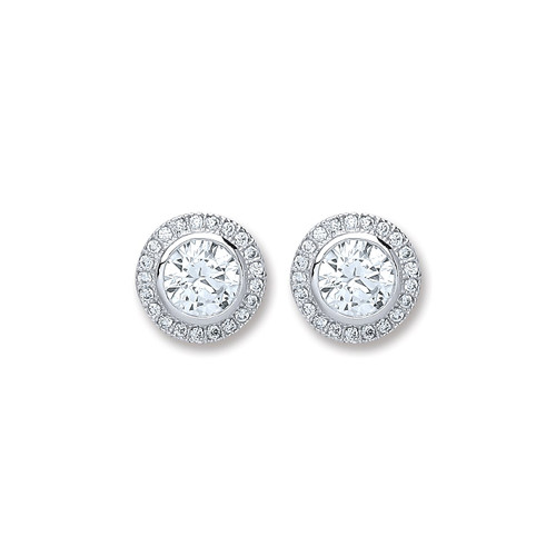 Sterling Silver 6mm Round Cubic Zirconia Halo Stud Earrings