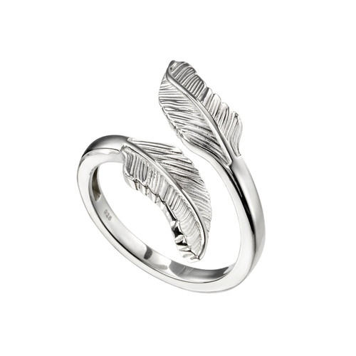 Sterling Silver Double Split Feather Ring