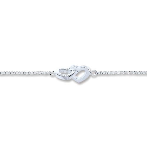 Sterling Silver Interlocking Hearts Bracelet