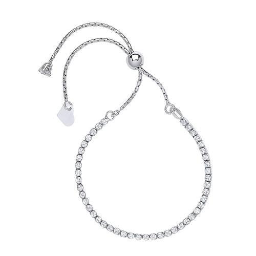 Sterling Silver Cubic Zirconia Friendship Bracelet