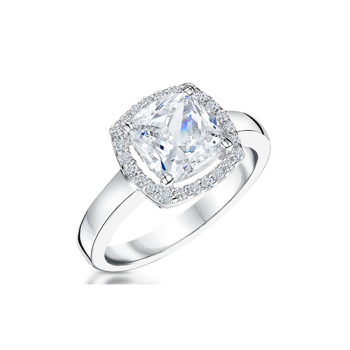Sterling Silver 8mm Cushion Shaped Cubic Zirconia Halo Ring