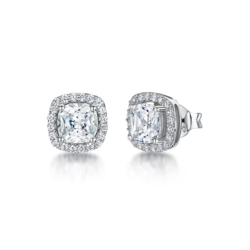 Sterling Silver 6mm Cushion Shaped Cubic Zirconia Halo Stud Earrings