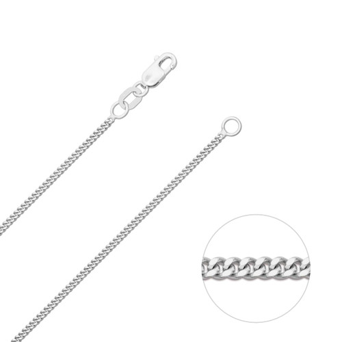 9ct White Gold 1.2mm Diamond Cut Curb Chain Necklace