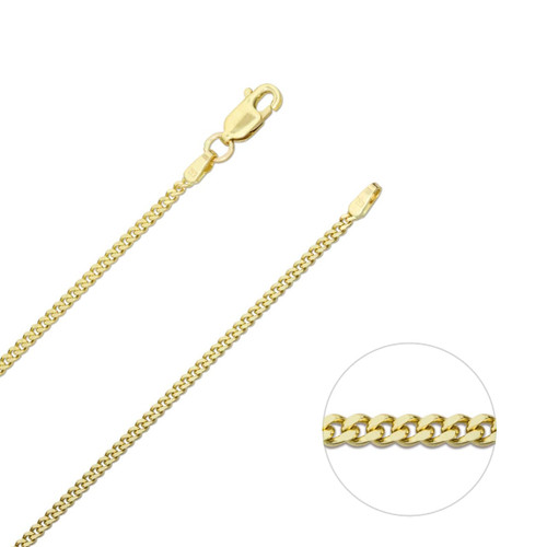 9ct Yellow Gold 1.8mm Diamond Cut Curb Chain Necklace