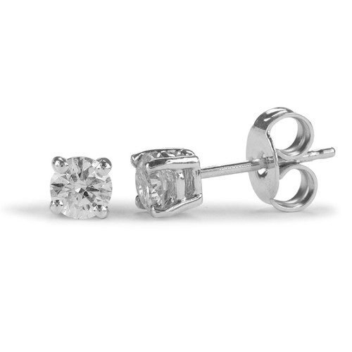 9ct White Gold Four Claw 0.10ct Brilliant Diamond Stud Earrings