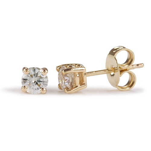 9ct Yellow Gold Four Claw 0.10ct Brilliant Diamond Stud Earrings