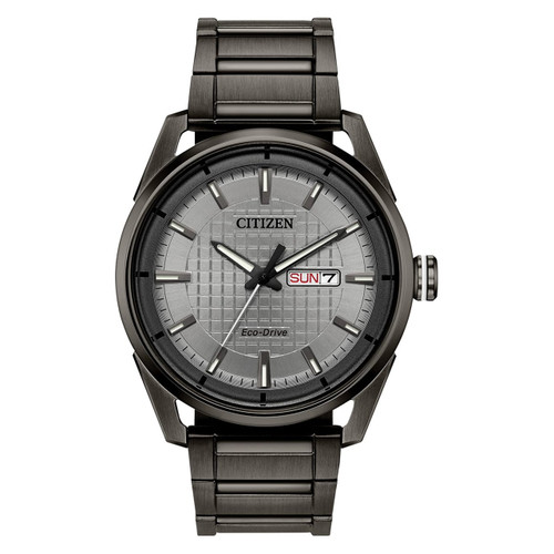 Citizen Gents Eco-Drive Grey Ion-Plated Stainless Steel Watch AW0087-58H