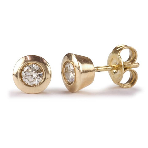 9ct Yellow Gold Rubover Brilliant Diamond Stud Earrings