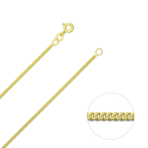 9ct Yellow Gold 1.3mm Diamond Cut Curb Chain Necklace