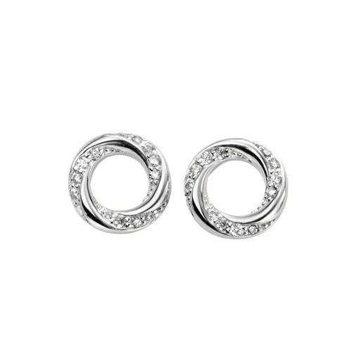 Sterling Silver Cubic Zirconia Open Circle Earrings