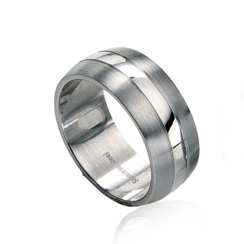 Fred Bennett Stainless Steel Brushed and Polished Band Ring
