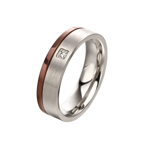 Fred Bennett Stainless Steel Band Ring With IP Brown Stripe