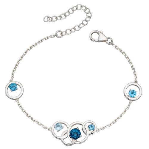 Sterling Silver Blue Topaz Open Circle Bracelet