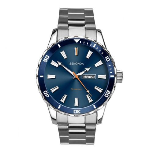 Sekonda Gents Blue Face Stainless Steel Watch 1653