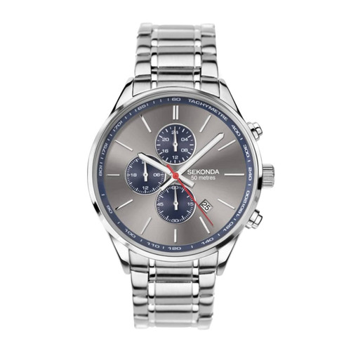 Sekonda Gents Grey Chronograph Dial Stainless Steel Watch 1712