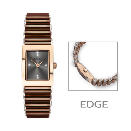 Sekonda Ladies Seksy Edge Bronze Stone Set Bracelet Watch 2914
