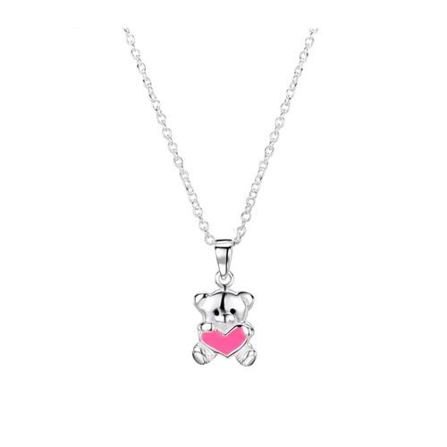 Jo for Girls Sterling Silver Teddy Bear with Pink Enamel Heart