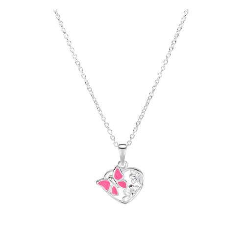 Jo for Girls Sterling Silver Pink Butterfly Pendant