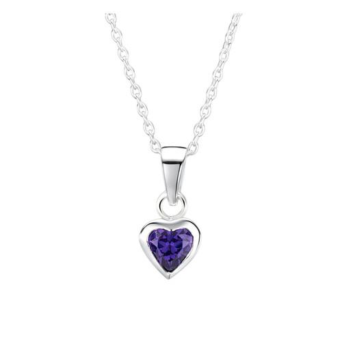 Jo for Girls Sterling Silver Amethyst Cubic Zirconia Heart Pendant