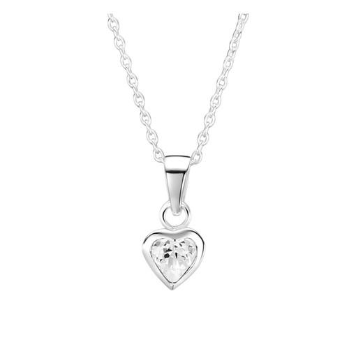 Jo for Girls Sterling Silver Clear Cubic Zirconia Heart Pendant