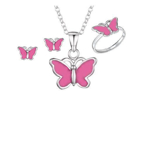 Jo for Girls Sterling Silver Pink Butterfly Set