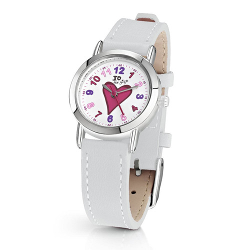 Jo for Girls Heart Watch With White Leather Strap