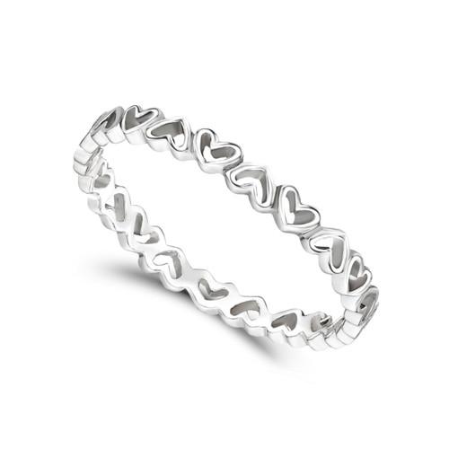 Jo for Girls Sterling Silver Full Heart Stacking Ring