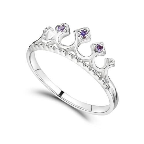 Jo for Girls Sterling Silver Purple Cubic Zirconia Tiara Ring