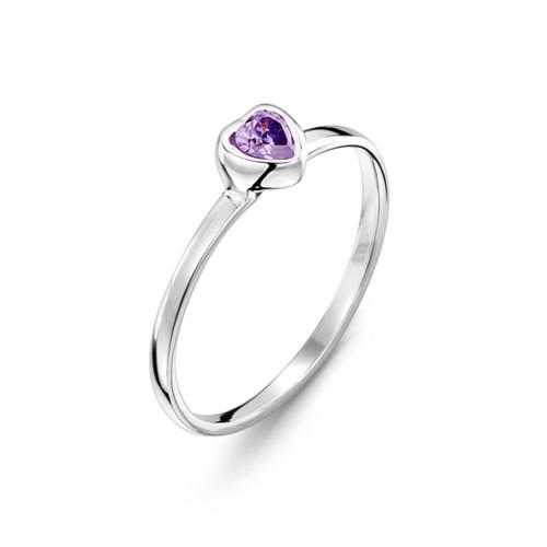 Jo for Girls Sterling Silver Purple Heart Cubic Zirconia Ring