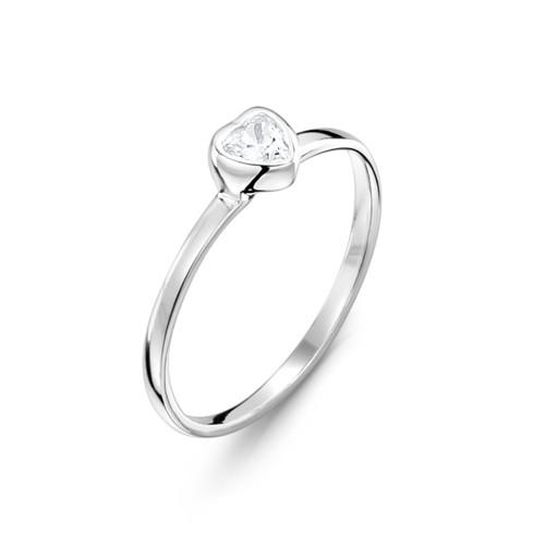 Jo for Girls Sterling Silver Clear Heart Cubic Zirconia Ring