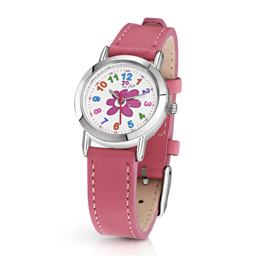 Jo for Girls Flower Watch with Pink Leather Strap