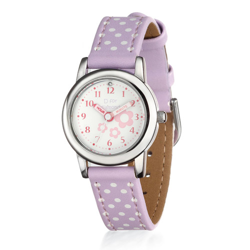 D for Diamond Lilac Leather Strap Watch