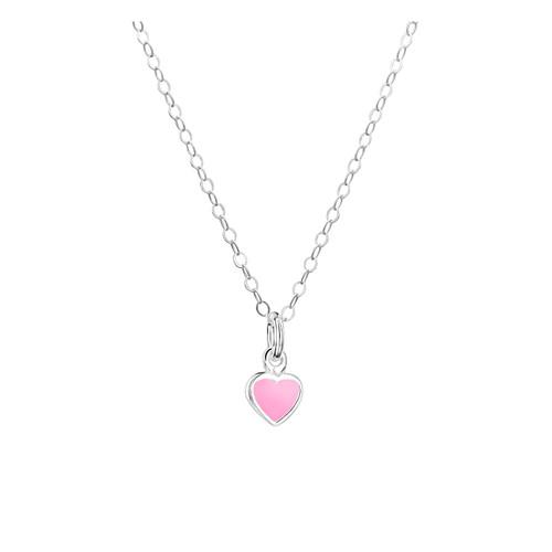 Jo for Girls Sterling Silver Pink Enamel Heart Pendant