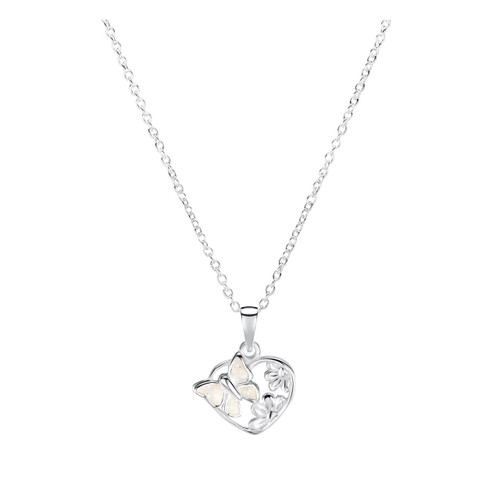 Jo for Girls Sterling Silver White Butterfly Heart Pendant