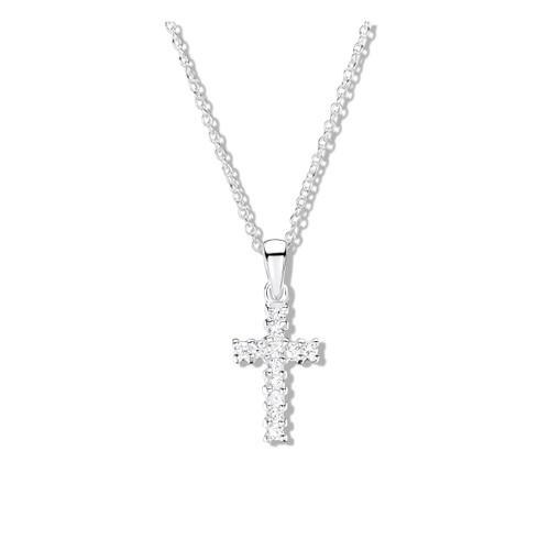 Jo for Girls Sterling Silver Cubic Zirconia Cross Pendant