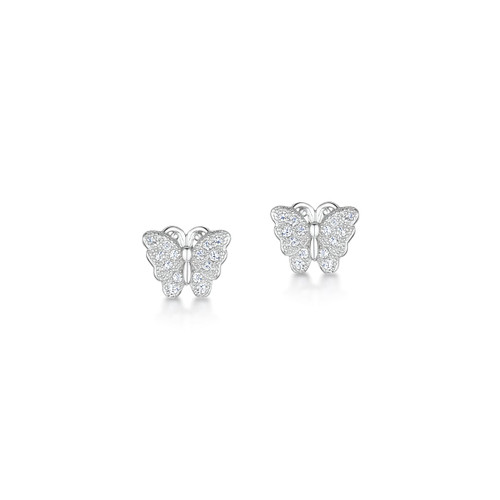 Jo for Girls Sterling Silver Cubic Zirconia Butterfly Stud Earrings