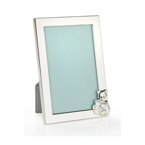D for Diamond Silver Plated Teddy Bear Picture Frame