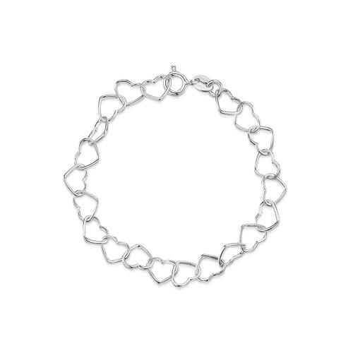 Jo for Girls Sterling Silver Heart Charm Bracelet