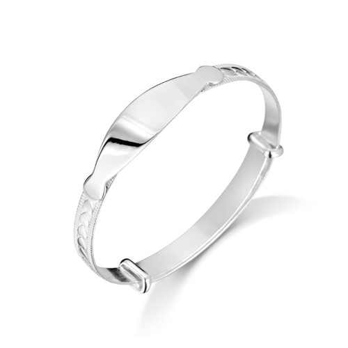 Jo for Girls Sterling Silver Embossed Heart Bangle with ID Plate