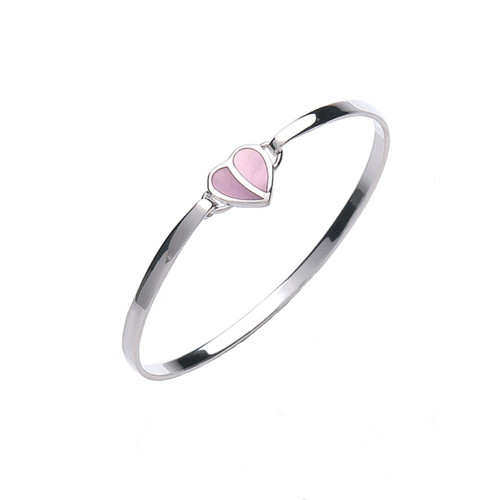 Jo for Girls Sterling Silver Mother of Pearl Pink Heart Bangle