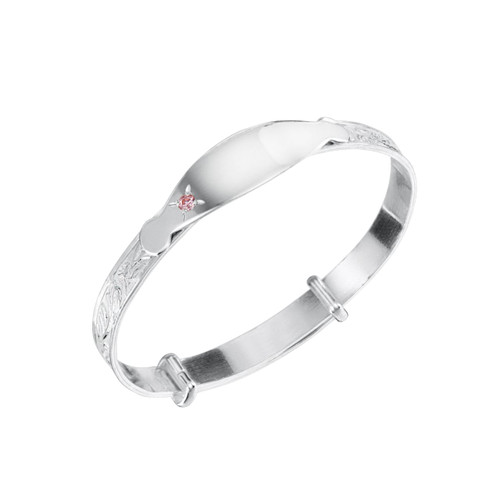 Jo for Girls Sterling Silver Round Pink Cubic Zirconia Bangle with ID Plate