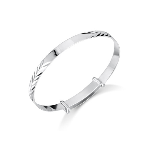Jo for Girls Sterling Silver Patterned Christening Bangle with ID Plate