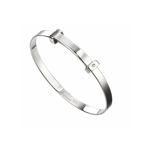 D for Diamond Sterling Silver Plain Christening Bangle